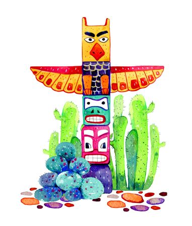 Native American traditional totem pole with cactuses on the background. Hand drawn watercolor illustration on white background
