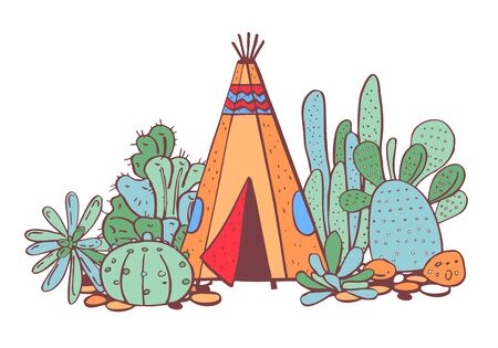 Native American indians traditional tipi, succulents and cactuses. Vector hand drawn color outline doodle sketch illustration on white background Stock Photo