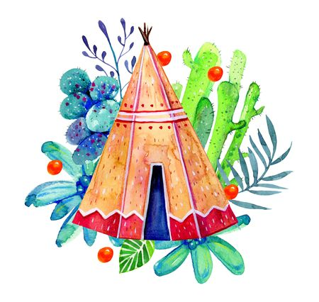 Native American wigwam with cactuses and flowers. Stylized hand drawn watercolor illustration on white background