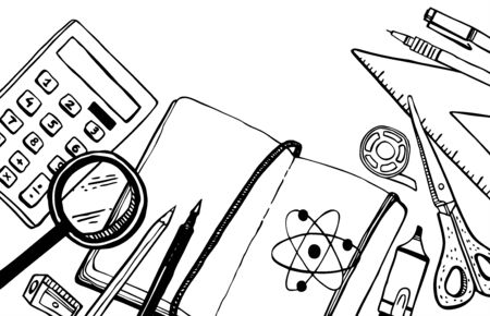 Rectangular frame with school stationery. Hand drawn outline doodle sketch vector illustration.  Notebook, calculator, scissors, pens, ruler, magnifying glass. Black on white background Banque d'images - 126137122