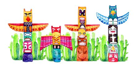 Native American traditional totem poles and cactuses. Hand drawn watercolor illustration Group of four carved wooden figures ion white background Stock Photo