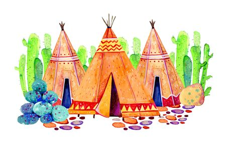 Three Native American tipis with cactuses on background. Stylized hand drawn watercolor illustration on white background