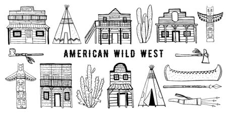 America Wild West and Native American Indians houses and objects set. Hand drawn outline sketch doodle vector illustration black on white background