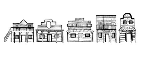 America Wild West town houses. Outline hand drawn sketch doodle vector illustration black on white background