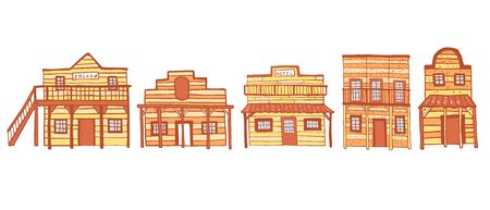 America Old West town houses. Outline hand drawn color sketch doodle vector illustration on white background