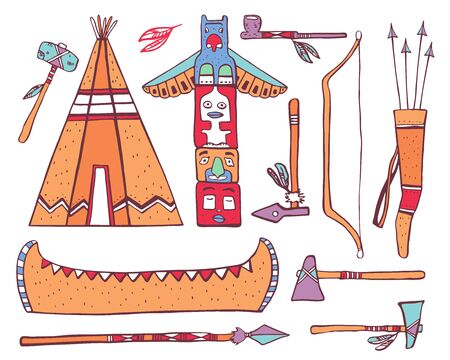 Native American traditional objects. Wigwam, totem pole, canoe, weapons. Color vector hand drawn outline sketch illustration set on white background