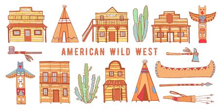 America Wild West and Native American Indians houses and objects set. Color hand drawn outline sketch doodle vector illustration on white background