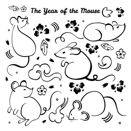 Chinese New Year 2020. The Year of the Mouse or Rat. Vector outline hand drawn brush illustration with different animal characters, decorative elements and flowers. Black on white background Vector Illustration