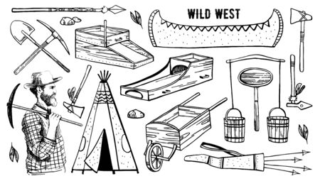 Wild west and native American objects set. Wigwam, digger, canoe, rocker boxes, mining tools, weapons. Vector hand drawn outline sketch illustration black on white background