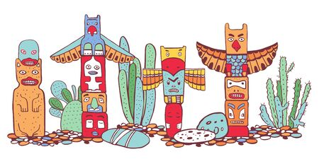 Native American traditional totem poles  and cactuses. Vector outline color hand drawn doodle sketch illustration. Group of four carved wooden figures on white background