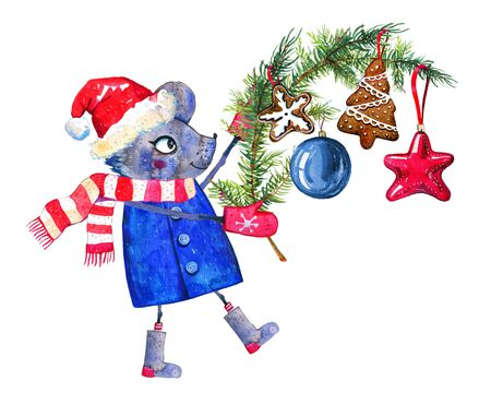 Cartoon mouse character in winter clothes with a spurce branch and Christmas toys. Hand drawn watercolor illustration on white background. 2020 Chinese New Year of  the Rat Stock Photo