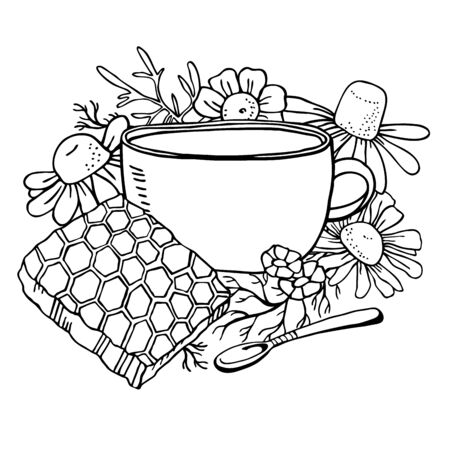 Cup of tea with chamomile flowers, spoon and honeycomb. Hand drawn sketch vector illustration black on white background