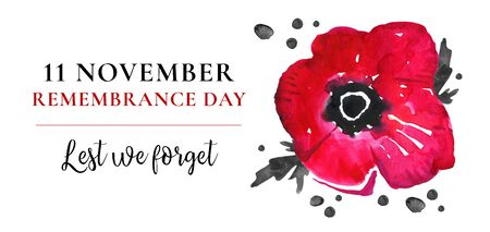 Remembrance day design concept. Poppy flower and title. Hand drawn watercolor sketch illustration on white background Stock Photo