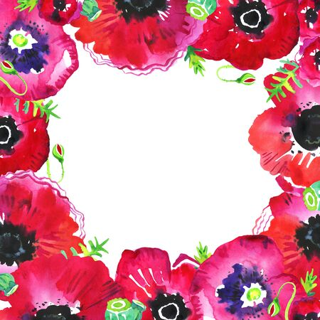 Rectangular frame with poppy flowers and leaves. Hand drawn watercolor sketch illustration on white background