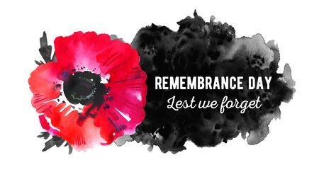 Remembrance day design concept. Poppy flower with black spot and title. Hand drawn watercolor sketch illustration on white background