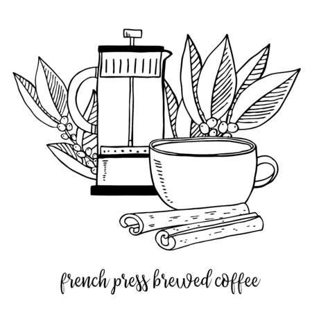 Coffee brewed in french press. Composition with pot and cup. Coffee leaves on the background. Hand drawn outline sketch illustration. Black and white graphic