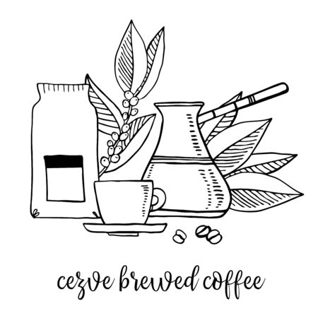 Coffee brewed in cezve. Composition with utensils and coffee leaves. Hand drawn outline sketch illustration black on white background