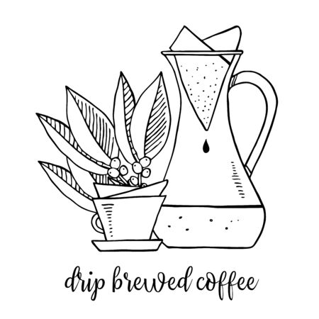 Drip brewed coffee. Composition with carafe, cup and coffee leaves. Hand drawn outline sketch illustration black on white background