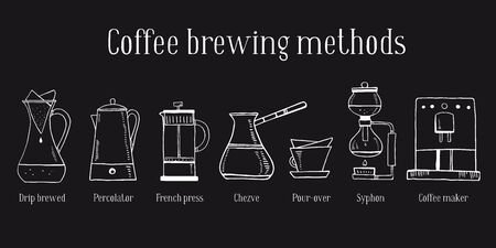 Alternative coffee brewing methods. Set of different coffee makers. Percolator, syphon, pour-over, cezve, french press. Hand drawn outline sketch illustration white on black background