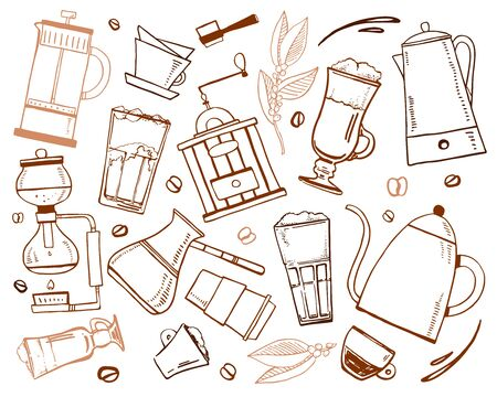 Coffee making utensils and drinks. Percolator, syphon, pour-over, cezve, french press. Hand drawn outline sketch illustration brown on white background