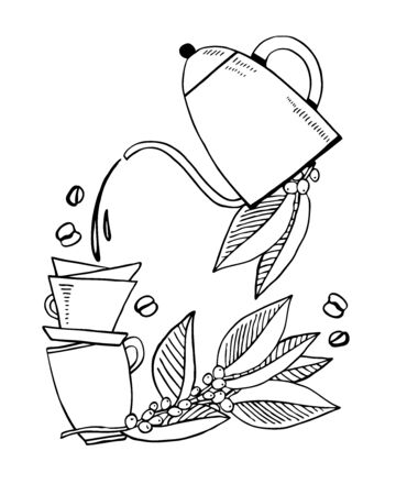 Composition with two cups, drink pouring from gooseneck pot and plant leaves. Drip brewed coffee. Hand drawn vector outline sketch illustration. Black on white background