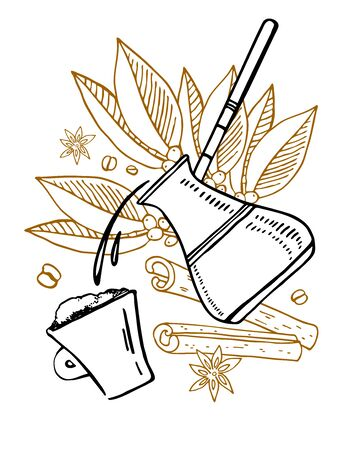 Composition with coffee pouring in the cup from cezve, plant leaves and spices on the background. Hand drawn vector outline sketch illustration. Black, white and brown colors