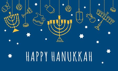Traditional Hanukkah objects hanging on the top of the page. Greeting card design template. Hand drawn outline sketch illustration. Yellow on blue background