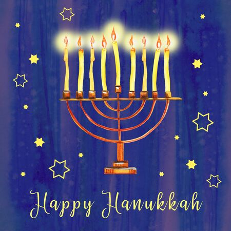 Menorah with burning candles. on blue textured background Hanukkah greeting design template. Hand drawn watercolor illustration with greeting Imagens