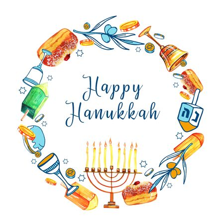 Round frame design template with traditional Hanukkah objects. Menorah, dreidels, donuts. Hand drawn watercolor and color graphic illustration with title on white background Banco de Imagens
