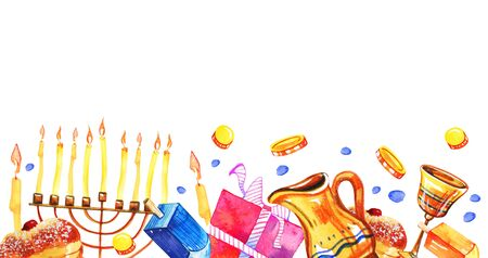 Hanukkah objects and food on the bottom of the page. Greeting design template. Hand drawn watercolor illustration on white background