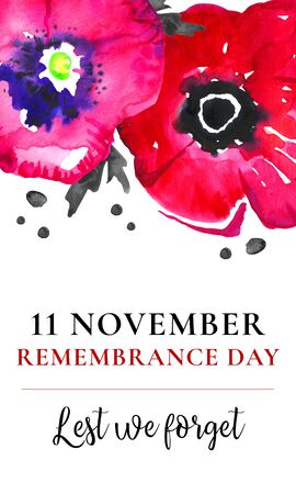 Remembrance day vertical banner design. Poppy flowers on the top of the page with title. Hand drawn watercolor sketch illustration on white background Stock Photo
