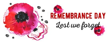Remembrance day banner design concept. Poppy flowers and title Lest we forget. Hand drawn watercolor sketch illustration on white background