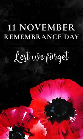 Remembrance day vertical banner design. Poppy flower on the bottom of the page with title on black textured background. Hand drawn watercolor sketch illustration Imagens