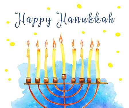 Hanukkah greeting design template with menorah and blue spot on the background. Hand drawn watercolor illustration with greeting