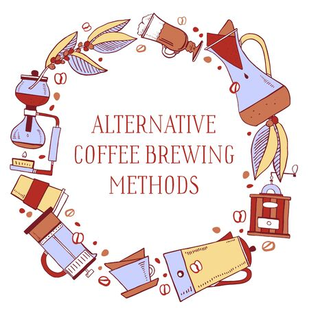Round frame with coffee makers and tytle alternative brewing methods. Percolator, syphon, pour-over, french press. Hand drawn outline sketch illustration color on white background Ilustracja