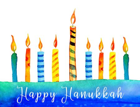 Hanukkah greeting design template. Nine burning colorful candles. Hand drawn watercolor illustration with title