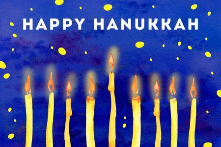 Happy Hanukkah greeting card. Burning candles on the bottom of the page. Hand drawn watercolor illustration on blue background Imagens