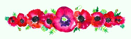 Border with red poppy flowers, leaves and buds in a row. Hand drawn watercolor sketch illustration on white background Stock fotó