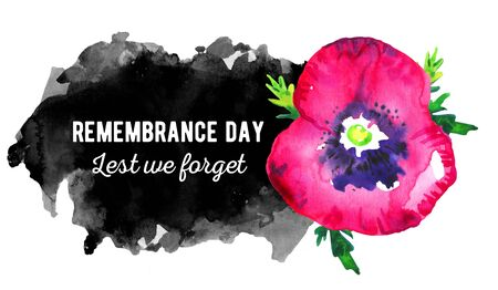 Remembrance day horizontal banner. Poppy flower with black hand drawn spot and title. Watercolor sketch illustration on white background