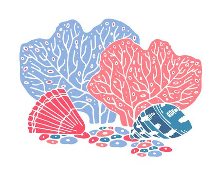 Color composition with corals and seashells. Hand drawn vector cartoon illustration on white background Ilustrace