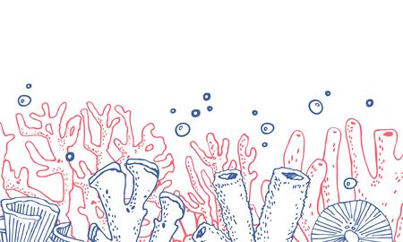 Composition with corals on the bottom of the page. Hand drawn outline vector sketch illustration on white background