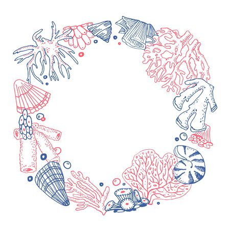 Round frame with corals and shells. Hand drawn outline vector color sketch illustration on white background Ilustrace