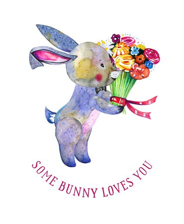 Carton bunny with bunch of flowers. Hand drawn watercolor illustration on white background. St Valentines day design template