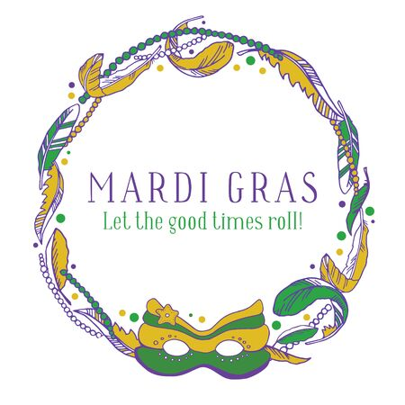 Mardi Gras design template. Round frame with beads, feathers and mask. Colorful hand drawn vector sketch illustration