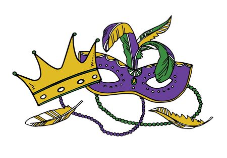 Mardi Gras composition. Group of carnival mask with beads and crown. Color vector illustration Çizim
