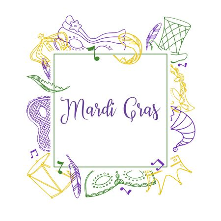 Mardi Gras square frame template with outline masks, crowns, hats and decorations. Hand drawn vector color sketch illustration