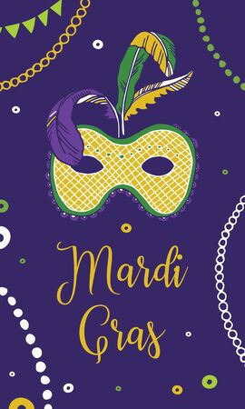 Mardi Gras design template. Vertical composition with mask and decorations. Vector hand drawn color illustration