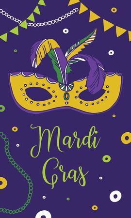 Mardi Gras design template. Composition with mask and feathers. Vector hand drawn color illustration