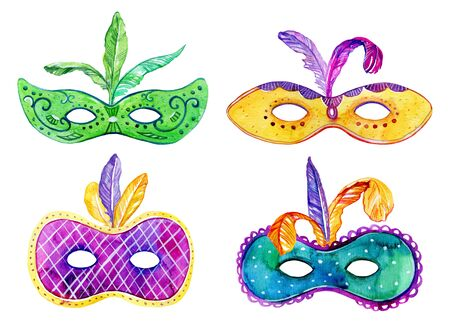 Set of colorful masks with feathers. Hand drawn watercolor sketch illustration Stok Fotoğraf