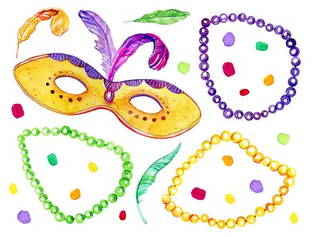 Set with beads, mask and feathers. Mardi Gras traditional objects. Hand drawn watercolor illustration Stok Fotoğraf